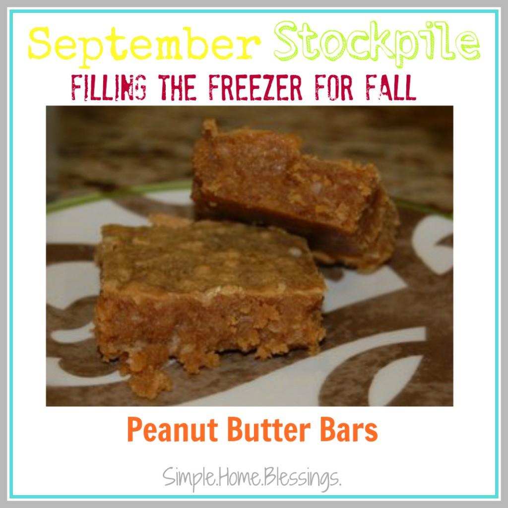September Stockpile Peanut Butter Bars