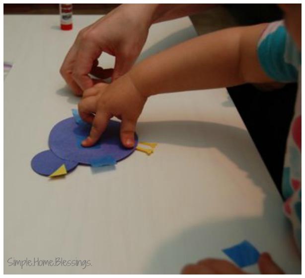 Toddler Blue Bird Craft - simple craft for little hands