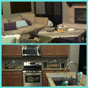clean living and kitchen