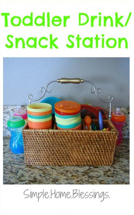 Toddler Drink and Snack Station - tackling tasks day 1