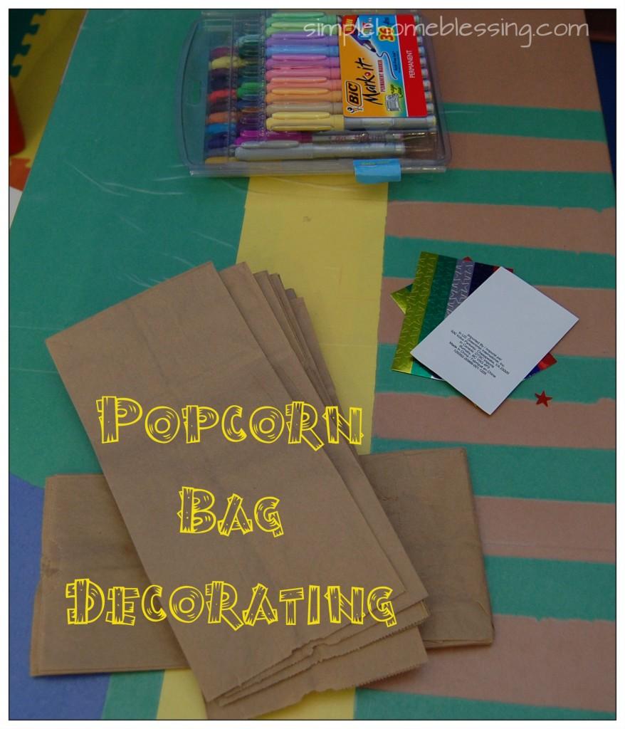 popcorn bag decorating station