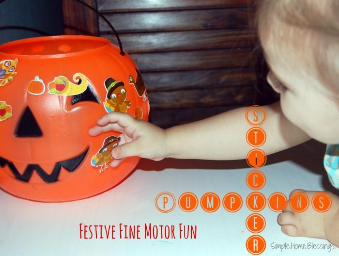 pumpkin decorations with stickers - fine motor fun