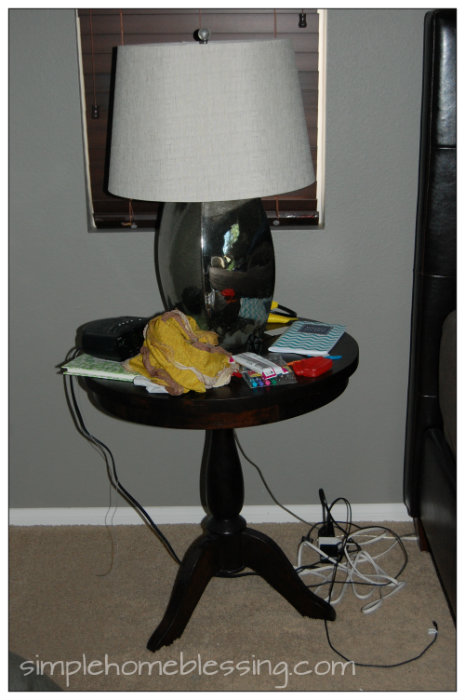bedside table before