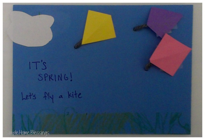 Toddler Craft Let's Fly a Kite Post Card