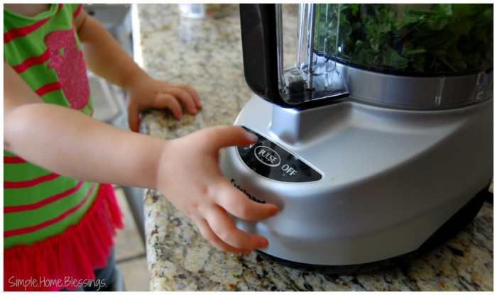 Kids in the Kitchen Basil Pesto-preparation