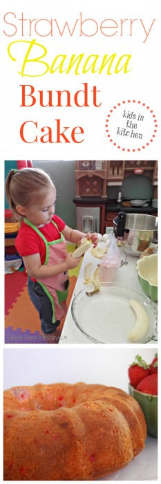 Strawberry Banana Bundt Cake - cooking with kids