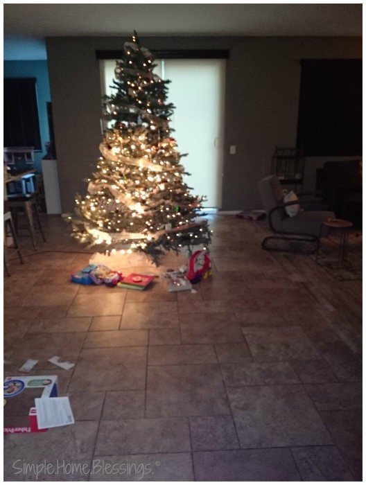 entryway with Christmas tree