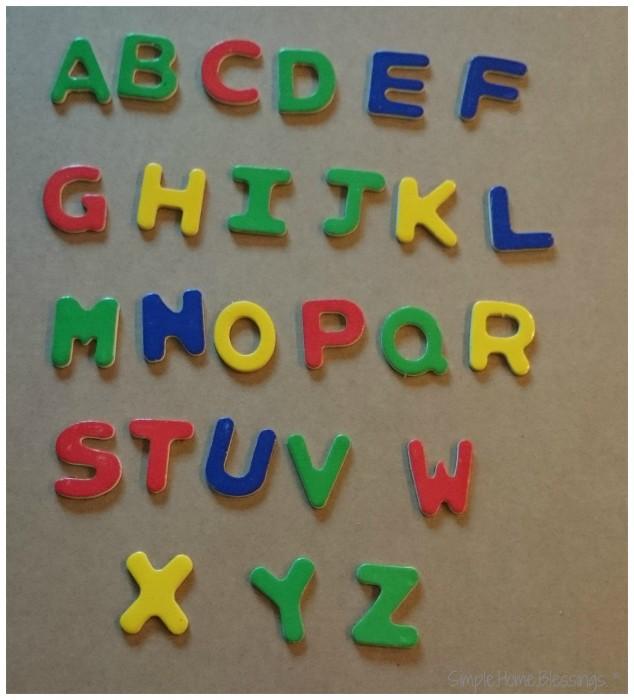 DIY Glitter Alphabet Magnets, before