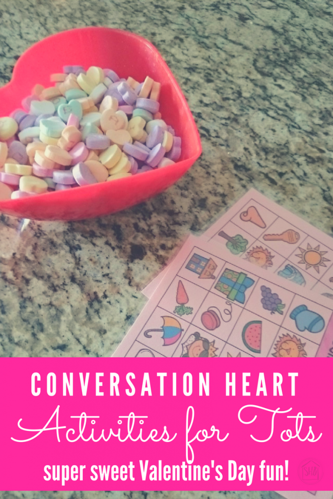 conversation heart activities for toddlers.  super simple ideas to celebrate Valentine's Day with your little one.