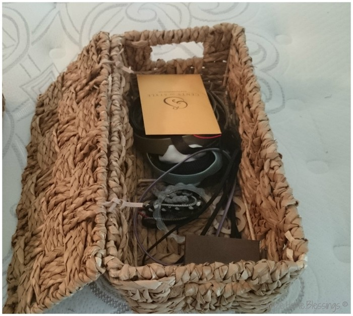 keeping an orderly master bedroom - baskets for essentials