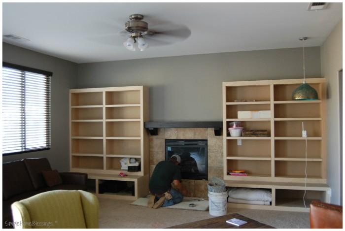 Living Room makeover - after shelves installed