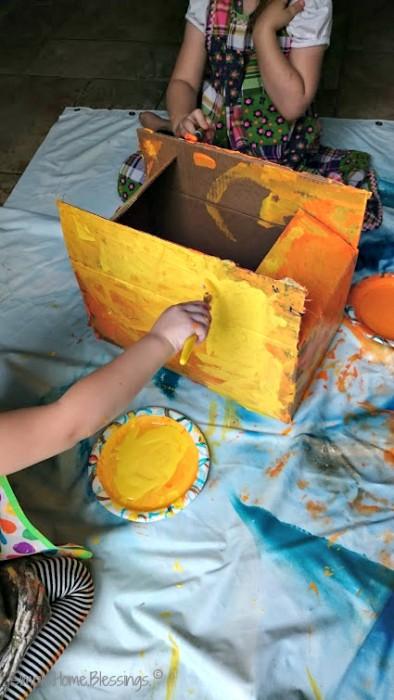 A Toddler/Preschool Halloween craft, a box-o-lantern