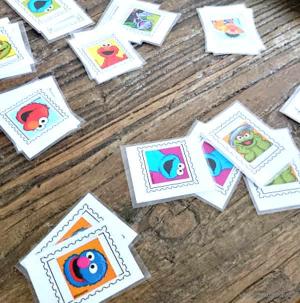Stamp Matching Game for preschool post office unit
