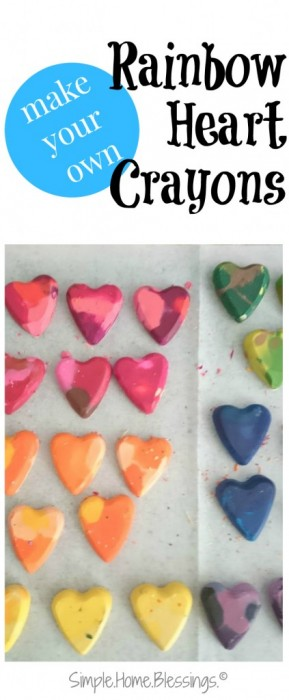 a simple tutorial for rainbow heart crayons