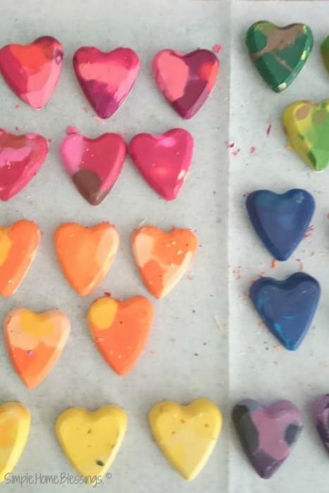 rainbow heart crayons - a simple DIY activity for kids