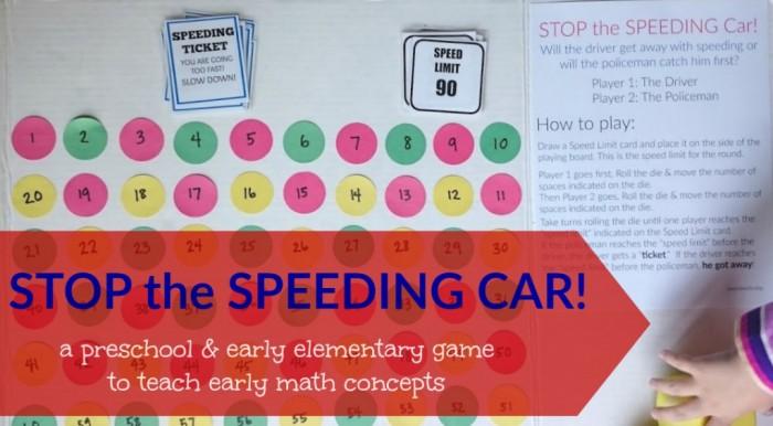 STOP the SPEEDING CAR preschool math game