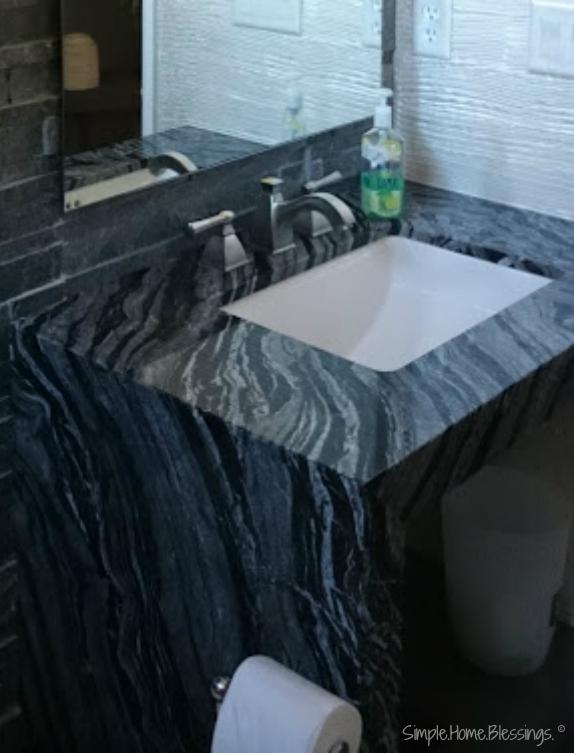 granite detail for industrial inspired bathroom makeover