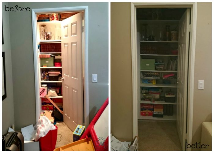 Decluttering Step by Step, progress report, bonus closet