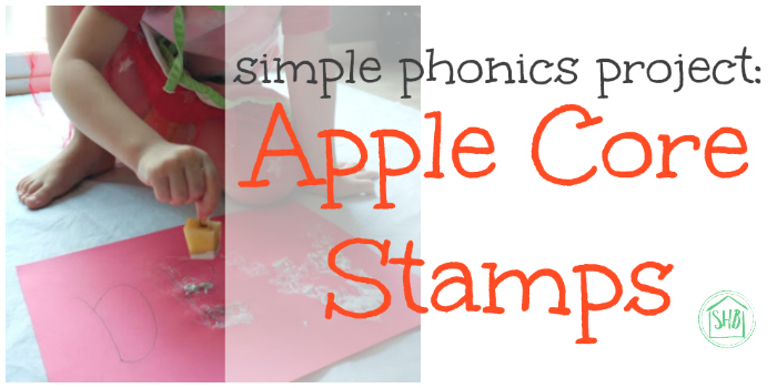 Apple Core Stamps - project for short-vowel sound Aaɑ