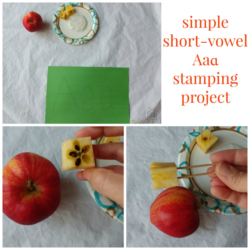 simple short-vowel Aaɑ stamping project setup