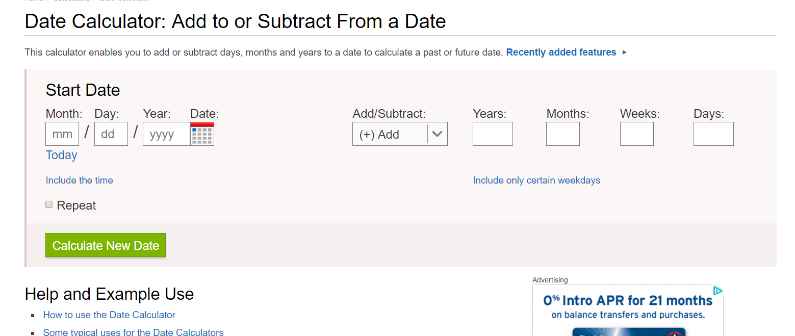 Date Calculator for Disney World vacation planning. Know when to start planning your vacation.