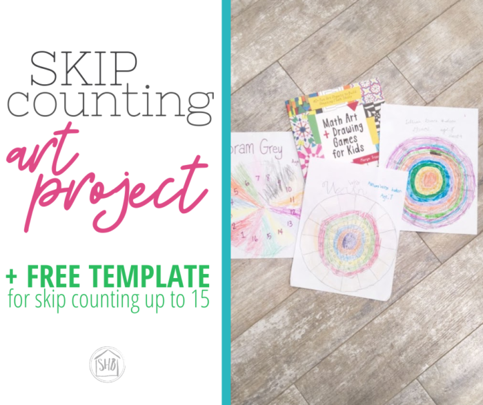 a simple art project reviewing skip counting - with template for skip counting up to 16 counts - perfect for Classical Conversations families to do together