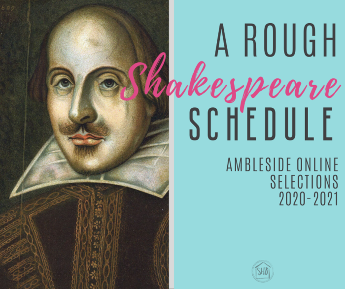 simple and rough schedule for teaching the Ambleside Online 2020-2021 selections of Shakespeare