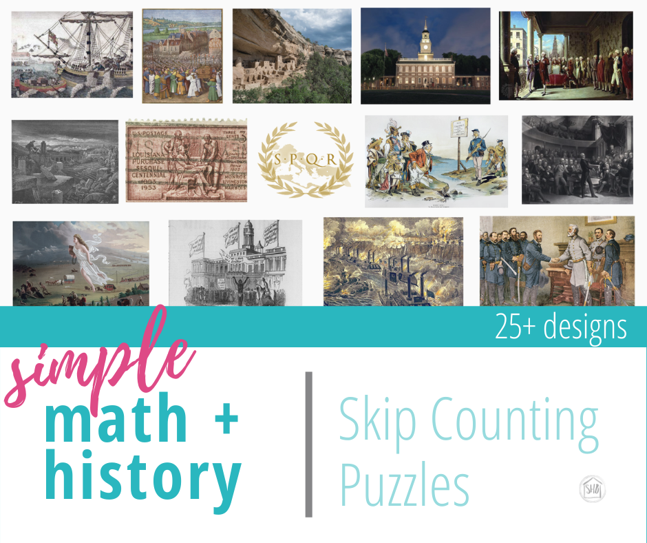 Unique, beautiful math + history puzzles use art pieces to help students learn math facts and skip counting