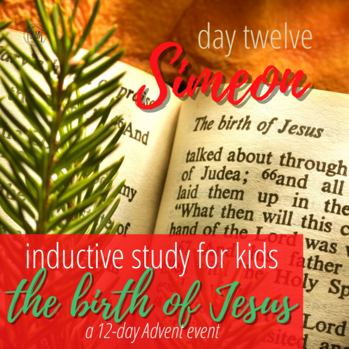 a simple Inductive Bible study for kids (and families) to learn the story of Jesus' birth - day twelve Simeon