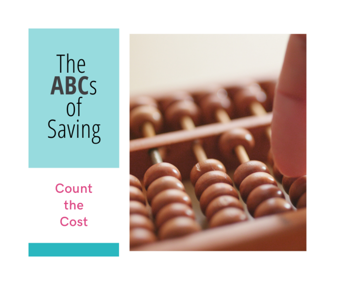 simple tips for saving money; counting the cost of an item's worth, waiting for a purchase, and deciding if it is really wanted