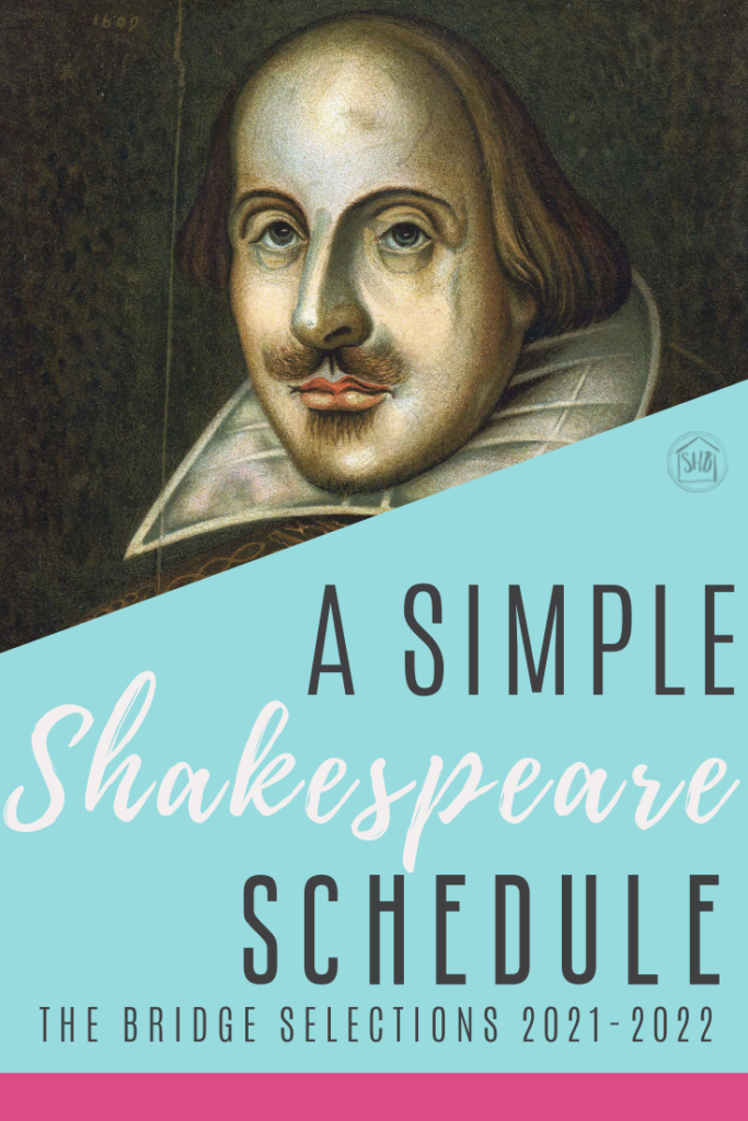 Rough schedules for reading Shakespeare's plays in the Bridge during the 2021-2022 school year.  Three plays are scheduled