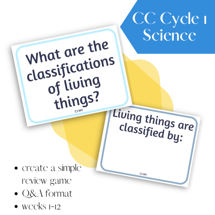 Create a simple one-room schoolhouse game for memory work review with these CC Cycle 1 Science Q&A Cards, formatted for memory master