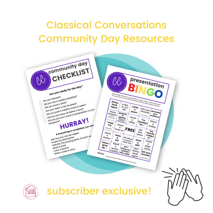 tips for making the most of Classical Conversations Community Day in your local community from a year 6 mom - with free printable resources!
