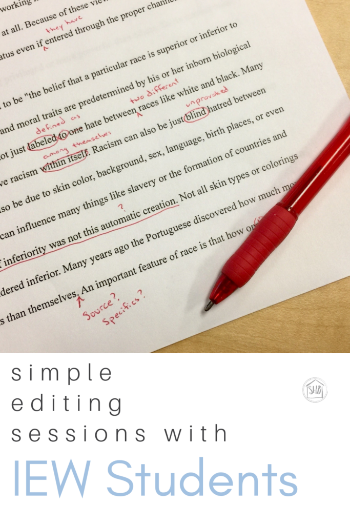 a simple approach to editing sessions with CC Essentials students going through IEW's writing program - tips and resources
