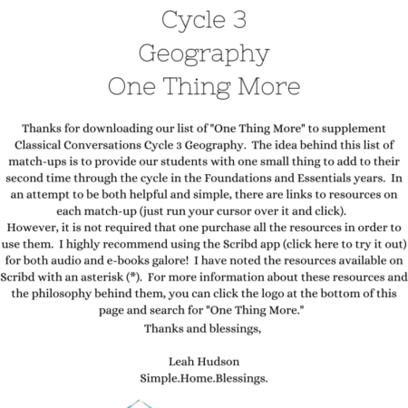 CC Cycle 3 Geography – One Thing More